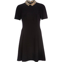 River Island Womens Black leopard collar fit and flare dress