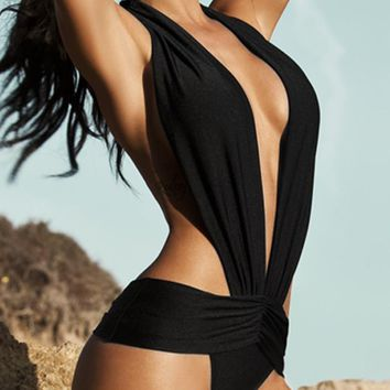 A| Chicloth Sexy Women Swimsuit Deep V Halter Backless Swimwear Beach Playsuit Jumpsuit Rompers