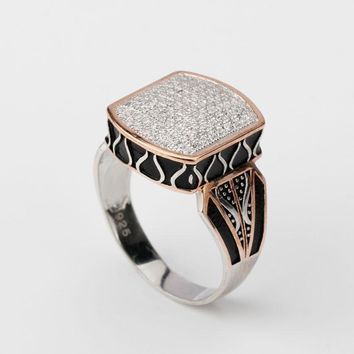 Men Ring 925 Silver Geometric Shape Pave Setting Zircon Stone Gold Color Punk Finger Ring For Male Female Jewelry