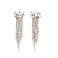 Rhinestone Bow Fringe Earrings: Charlotte Russe