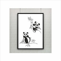 Two adorable Pandas kids poster (from US Letter and A4 up to A0 size) Interior Decor / Kids Room Decor / Nursery