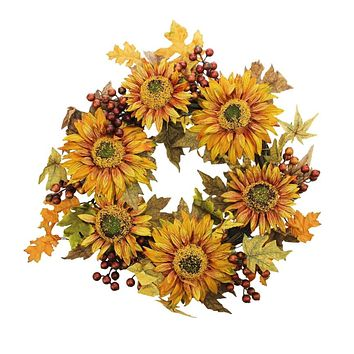 "24"" Autumn Harvest Sunflower Berry Wreath - Unlit"