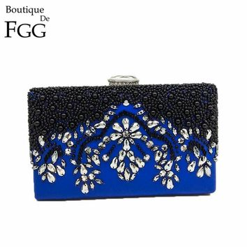 Boutique De FGG Black & Blue Women Beaded Crystal Purse Evening Clutch Bag Bridal Wedding Minaudiere Party Handbag