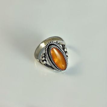 Sterling Navajo Ring Size 5 - Orange Cabochon Ring - Southwestern Statement Ring Size 5 - Silver and Orange Stone