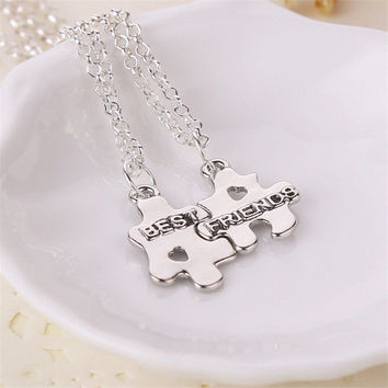 Set Vintage Best Friend Splice Pendant Necklace Party Jewelry Gift Wedding Alloy Women Men Necklace SM6