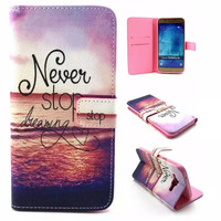 Unique NEVER STOP DREAMING Leather Case Cover Wallet for iPhone & Samsung Galaxy
