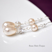 Bridal Pearl Earrings Teardrop Rhinestone Wedding Jewelry Bling - Vivian Feiler Designs | Wedding