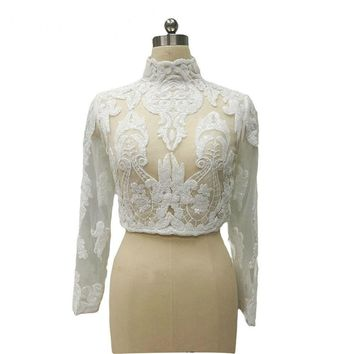 High Neck Sequin Lace Wedding Jackets Long Sleeves Wedding Boleros Shinning Lace Bridal Coat for wedding