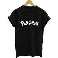 Unisex Loose Style Pokemon Comics Anime Black Color Summer Women Letter Print T-shirt Swag Vogue Female Printed Tshirt