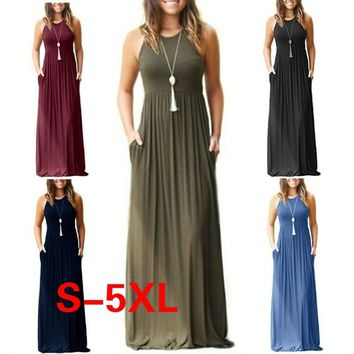 9 Colors Sleeveless Fashion Women Summer Long Halter Long Strapless Dress Casual Beach Maxi Dress S-5XL
