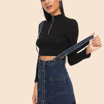 Single Breasted Denim Overall Dress