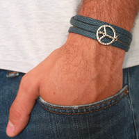 Men's Bracelet - Blue Fabric Bracelet With Silver Plated Peace Sign - Men's Jewelry - Peace Jewelry - Symbol Jewelry - Gift for Him