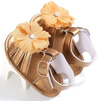 Summer Kids Newborn Baby Girls Cute PU Hollow Out Breathable Sandals Toddler Flower Soft Crib Sole Shoes