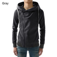 Mens Casual Side Zip-Up Hoodie