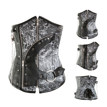 Black Vintage Print Leather Zip Up Overbust Corset