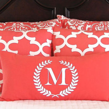 PIllow Shams - Decorative Pillow Covers - Coral Bedding - Coral Pillows - 12 x 24 Monogram Pillow Included - Five Pieces - Beach Decor