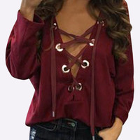 Burgundy Lace-Up Eyelet Casual Top