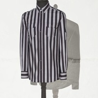 Large striped gold fit shirt with pockets | dolce&gabbana online store