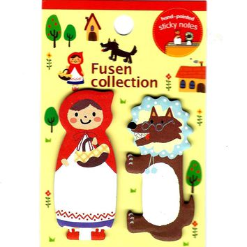 Red Riding Hood and Wolf Animal Memo Post-it Adhesive Bookmark Tabs | Stationery