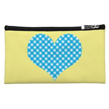 Blue Gingham Heart on Yellow Sueded Cosmetic Bag