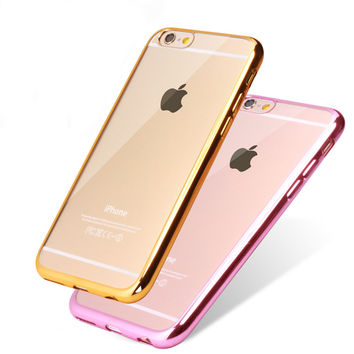 Ultra Thin Rose, Silver, Gold or Pink  Crystal Clear Case For iPhone 7, 7Plus  6, 6s Plus 5 5S SE Glam