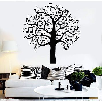 Vinyl Wall Decal Musical Tree Music Art Decor Home Decoration Stickers Mural Unique Gift (141ig)