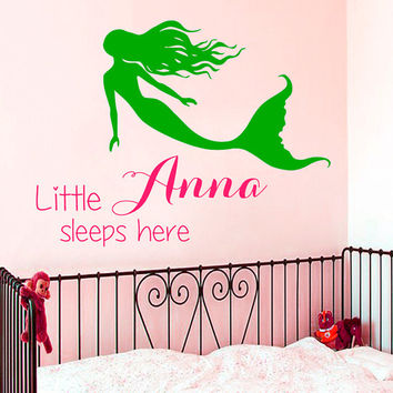 Name Wall Decal Quote Little Girl Sleeps Here Mermaid Stickers Vinyl Decals Art Mural Home Bedroom Decor Interior Design Nursery Decor KY13