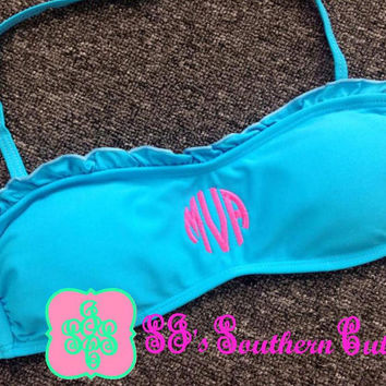 Monogrammed Ruffle Bandeau Swimsuit Top