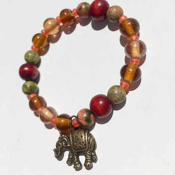 Lucky Elephant Beaded Bracelet | Boho Bracelet Ideas | Stretch | Elephant Charm | Everyday | Red Orange Bronze Green | Boho | Gift for her
