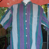 Vintage 80s PB & Co. Faded Distressed Stonewashed Aqua Blue Purple Striped Banded Collared Shirt Size Mens Large