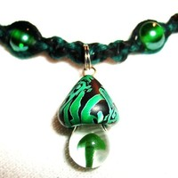 Emerald Green Celtic Mushroom Hemp Necklace with Blown Glass and Magnetic Hematite beads - Green and Black - Hemp Jewelry