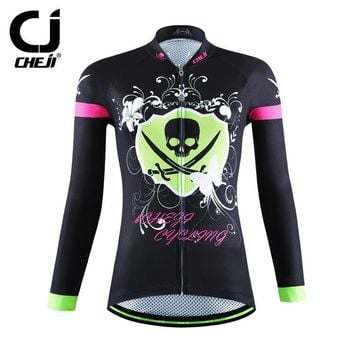 Women Bike Long jersey  black skull green Team Cycling clothing Riding Top Girls MTB Wear Maillot Long Sleeve Shirts