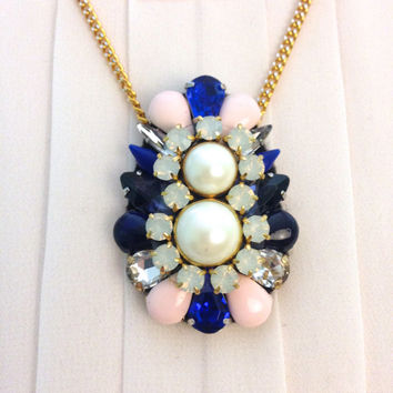 Royal Sapphire, Blush, and Pearl Statement Pendant Bridesmaids Necklace