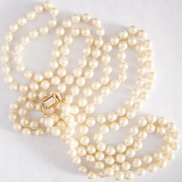 Vintage Monet Opera Length Faux Pearl Necklace, 66 inches