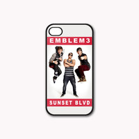 Emblem3 Sunset BLVD Cover Print on Hard Plastic And Rubber for iPhone 4/4s/5, Samsung Galaxy S3/S4 & iPod 4/5 Case. Choose the option