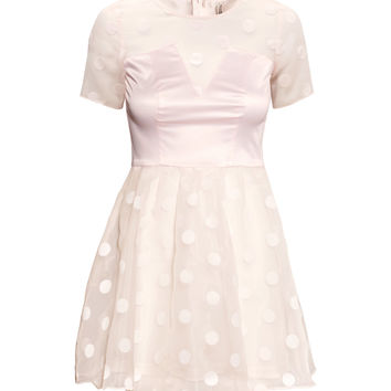 H&M - Patterned Organza Dress - Light pink - Ladies