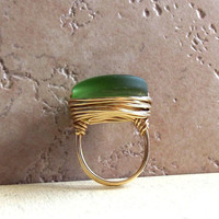 Emerald Green Sea Glass Ring:  Brass Wire Wrapped Beach Jewelry, Bottle Green, Size 6, Custom Size