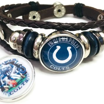 NFL Game Face Blue And Cool Horseshoe Indianapolis Colts Bracelet Brown Leather Football Fan W/2 18MM - 20MM Snap Charms New Item