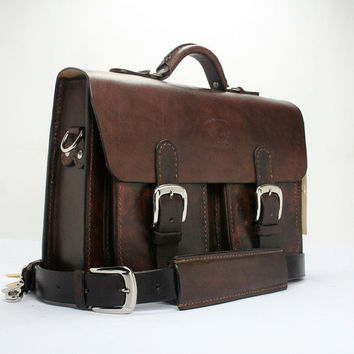 "Rustic Distressed Leather Messenger Bag  Briefcase Laptop Satchel fits Macbook Pro 13"" 068"