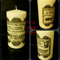 It's showtime! - Beetlejuice inspired pillar candle, gift idea, Tim Burton fan, beetle, Halloween decor