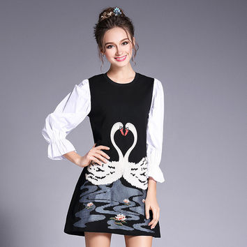 Swan Embroidery Spliced Party Mini Dress Women 2017 Spring Summer Black White Plus Size l to 5xl