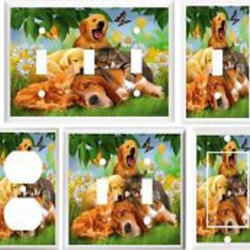 DOGS CATS DAISES & BUTTERFLIES LIGHT SWITCH PLATE OR OUTLET Each sold Seperatly
