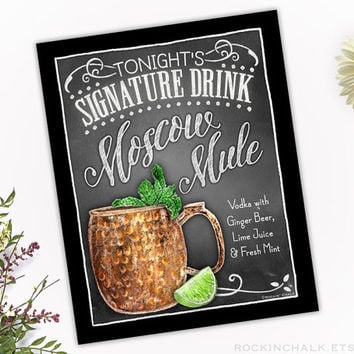 Signature Drink Sign | Moscow Mule (CUP) Vodka and Beer Cocktail Sign  | As-Is or Personalized Wedding Decoration or Keepsake Gift |