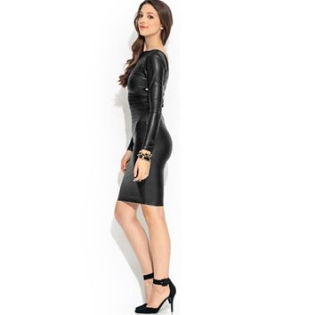 Sexy Faux Leather Reversable Bodycon Bandage Dress