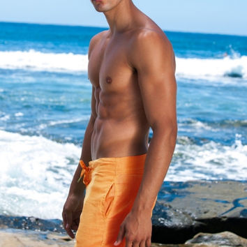 Sauvage Activewear Linen Shorts - Orange
