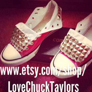Studded Converse Custom Made Hot pink all by LoveChuckTaylors
