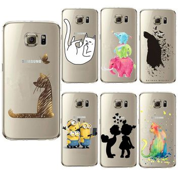 Cover Case for Samsung Galaxy S3 S4 S5 Mini S6 S7 S8 Edge Plus Note 3 4 5 A3 A5 A7 J1 J5 J7 Super Cute Minions Cat Hard Shell