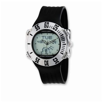 Mens Charles Hubert Rubber Band Silver Digital Dial Chronograph Watch