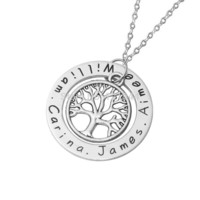 Custom Printed Family Tree of Life Pendant Necklace