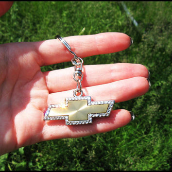 has video Chevrolet emblem Chevrolet Keychain with Swarovski crystals Chevrolet logo Chevrolet keychain Chevy bling car logo bling chevy